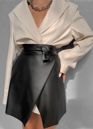 Тренд 2021/2022 💣 ультрамодная юбка оригинального кроя на запах из эко-кожи высокого качества🔥