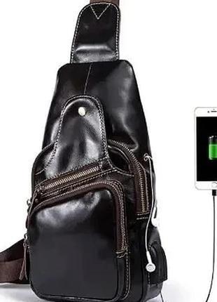 Чоловіча шкіряна сумка - рюкзак через плече з usb виходом