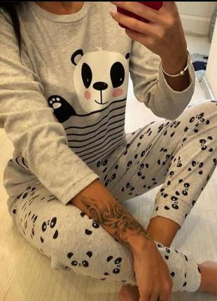 Домашняя пижама хлопок хлопковая пижамка турция кофта штаны домашние пижама панда