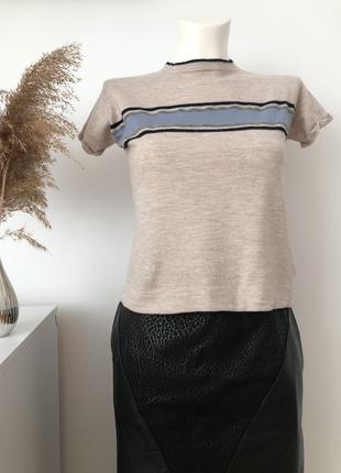 Брендовий кашеміровий джемпер на короткий рукав кофта светер свитер  кашемир