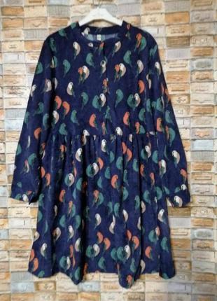 Вельветовое платье с принтом
