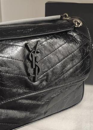 Женская кожаная сумка в стиле ysl