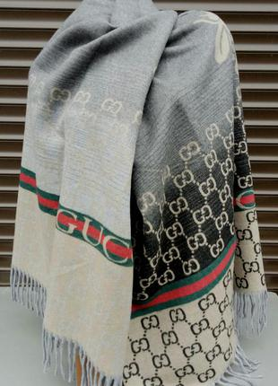 Gucci шарф женский шерстяной теплый серо бежевый