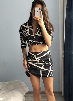 Костюм юбка блузка хит инстаграм зара размер s