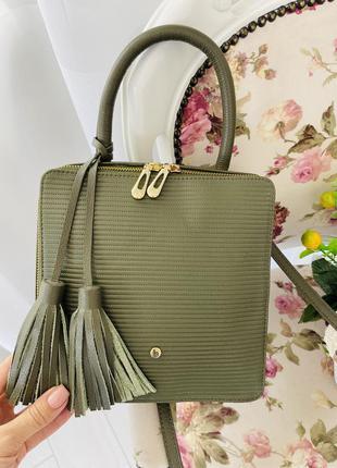 Кожаная сумка в цвете хаки bolso