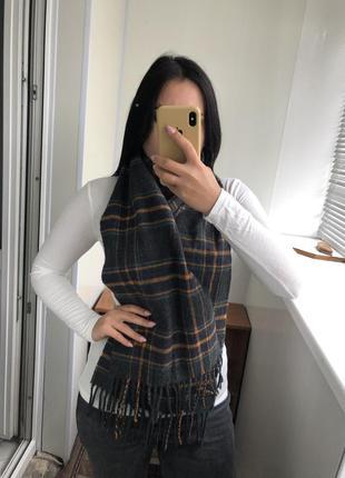 Шикарный шарф шарфик в клетку тёплый