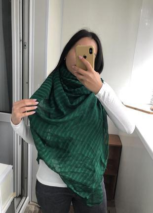 Шикарный зелёный шарф шарфик шаль большой