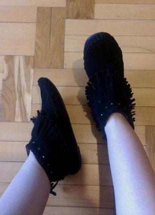 Новые замшевые ботиночки из экозамши peacocks р 38-39