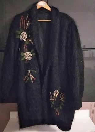 Теплый кардиган на подкладке с вышивкой и апликацией турция