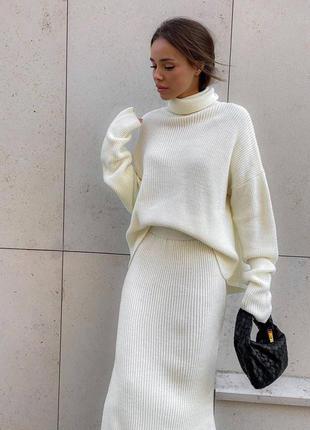 Тёплый костюм вязка свитер с горлом + юбка миди с разрезом