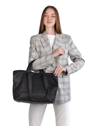 Сумка женская кожаная dovgiani, шоппер кожаный с двумя ручками, производство италия, черный