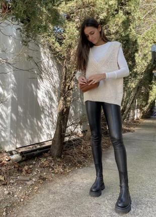 Кожаные штаны лосины леггинсы h&m s