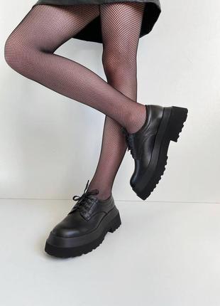 Туфли оксфорды женские на массивной подошве кожанные черные