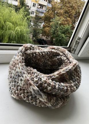 Шикарный нюдовый хомут шарф шарфик снуд вязаный