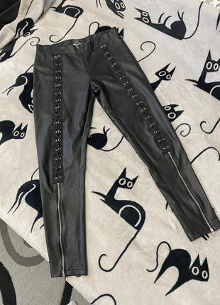 Крутые штаны под кожу со шнуровкой m-l