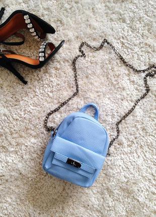 Небесно-голубая маленькая сумочка кроссбоди сумка на цепочке клатч 👛