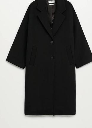 Шикарное чёрное пальто свободного кроя  mango😍