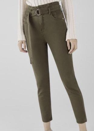 Штаны хаки от bershka размер s высокая посадка джинсы