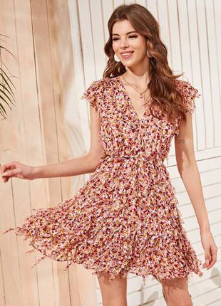 Цветочное платье с v-образным вырезом zara