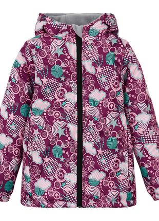 Зимняя куртка для девочки на флисе бордовая марсала с узорами