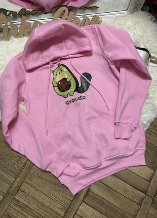 Милое новое худи с авокадо розового цвета