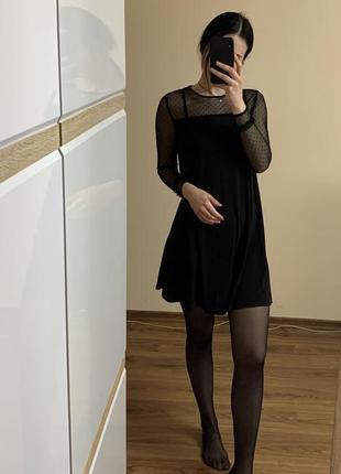 Крутое нарядное платье трапеция рукав  сетка