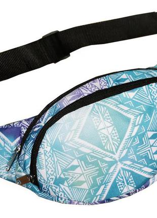 Молодежная поясная сумка из текстиля (бананка) с этническим принтом. 1213656518 сумка на пояс