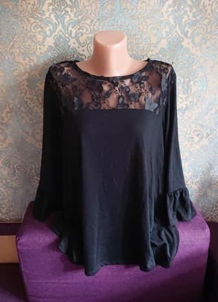 Женская черная кофта с бабочками блуза блузка большой размер батал 50/52