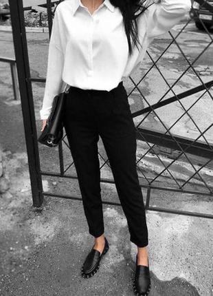 Чёрные базовые штаны штани брюки зауженные 8 размер