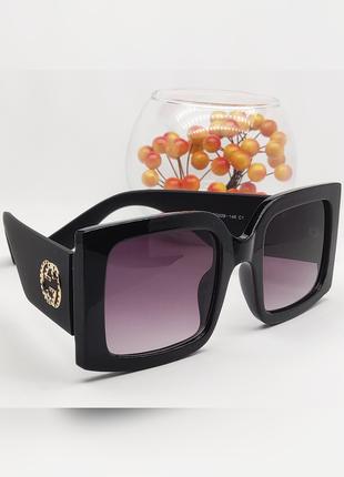 Женские стильные крупные очки линза черная дужка матовая черная широкая