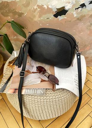 Женская кожаная шкіряна черная сумка кроссбоди 3 отдела, италия