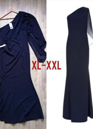 Длинное вечернее нарядное платье с разрезом на одно плечо максі сукня
