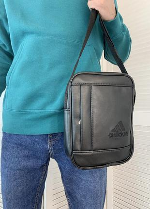 Мужская сумка через плечо adidas адидас кожаная барсетка мессенджер, спортивная надежная