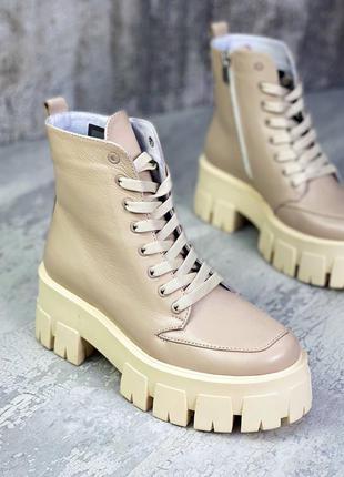 Стильные кожаные ботинки челси платформа