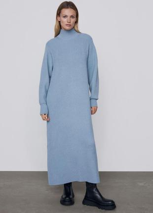 Длинное трикотажное платье zara
