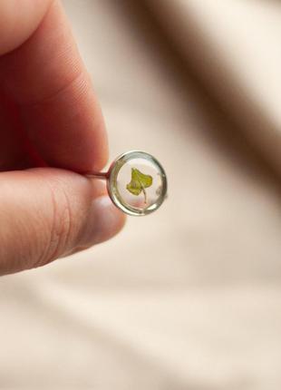 Срібна каблучка ручної роботи з листочком плюща