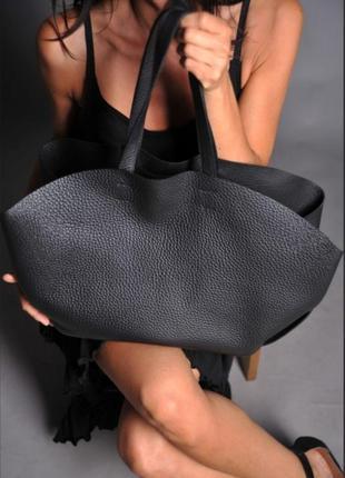 Кожаная сумка zara шопер большая черная
