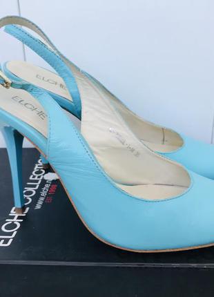 Кожаные туфли лодочки босоножки на каблуке elche