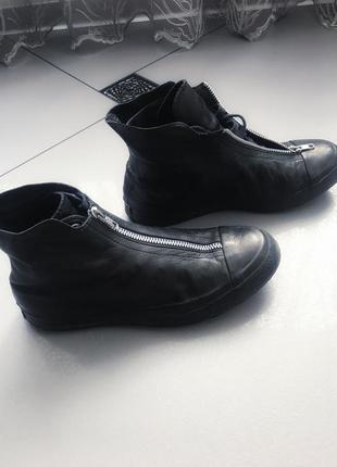 Кожаные кеды ботинки