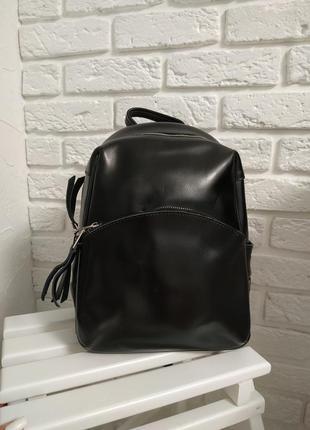 Стильный кожаный  рюкзак черный (трансформер)