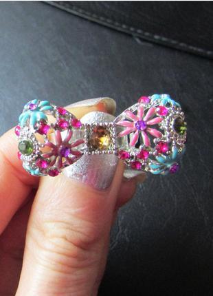 🏵ажурное кольцо бант с цветами, безразмерное, новое! арт. 773
