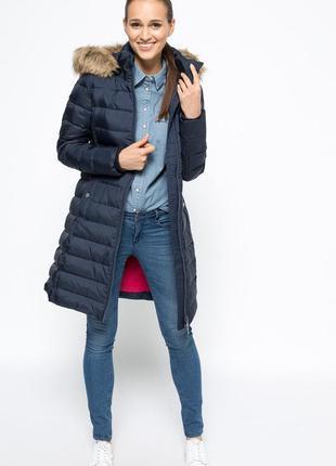 Стильный тёплый длинный пуховик парка пальто от tommy hilfiger,оригинал