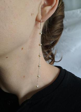Серебряные серёжки- подвески, жемчужные серёжки- подвески, серьги с жемчугом