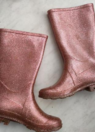 Резиновые розовые блестящие  сапоги для девочки juju uk 13