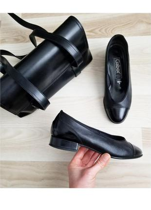 Ортопедические кожаные туфли балетки кожаные gabor туфлі шкіряні на ниьзких підборах