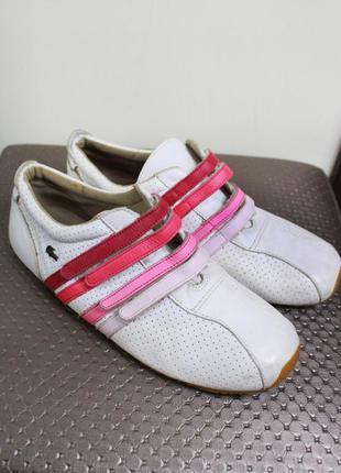 Фирменные белые кеды-кроссовки из натуральной кожи lacoste (размер 39.5-40)