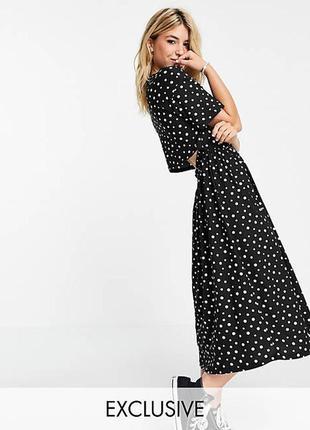 Вільне плаття міді з прісборенное спідницею в горошок wednesday's girl