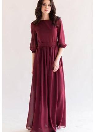 Платье в пол шифоновое цвет марсала melody