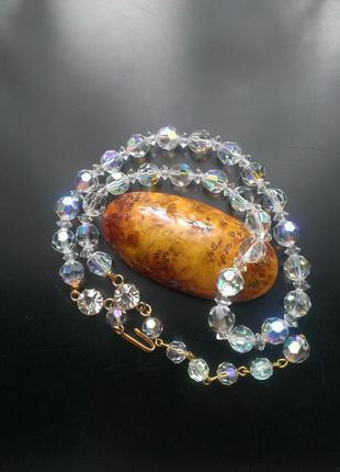 Роскошное брендовое ожерелье aurora borealis swarovski, австрия, хрусталь, позолота, 60е