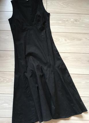 Чёрное натуральной платье миди лён хлопок h&m